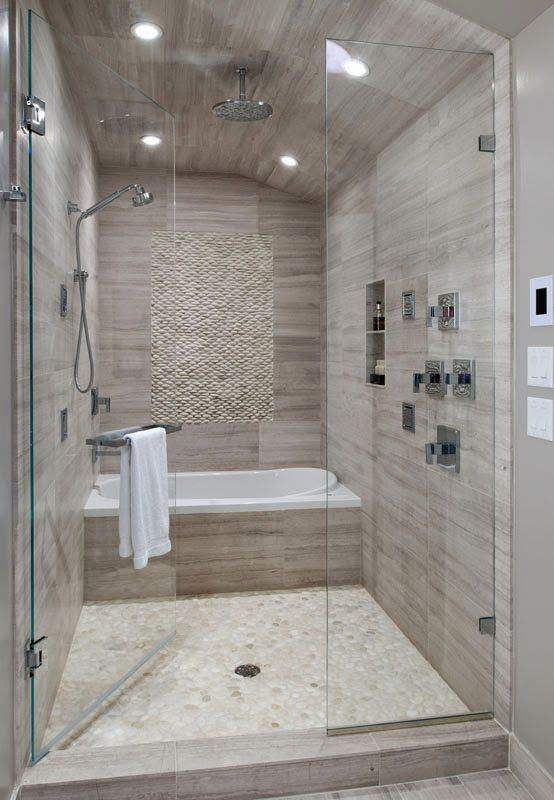 Example of a small trendy white tile and stone tile porcelain floor bathroom  design in Ottawa