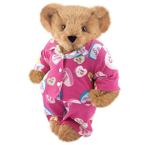 "15"" Conversation Hearts Pajama Bear from Vermont Teddy Bear. $79.99 #ValentinesDay #Gift #TeddyBear"