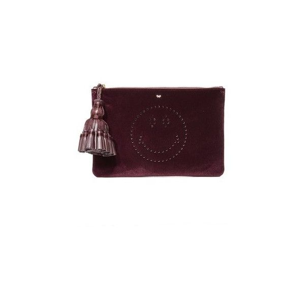 Anya Hindmarch Georgiana Smiley Clutch (10.463.510 IDR) ❤ liked on Polyvore featuring bags, handbags, clutches, burgundy, velvet handbags, perforated handbags, velvet purse, velvet clutches and anya hindmarch purse