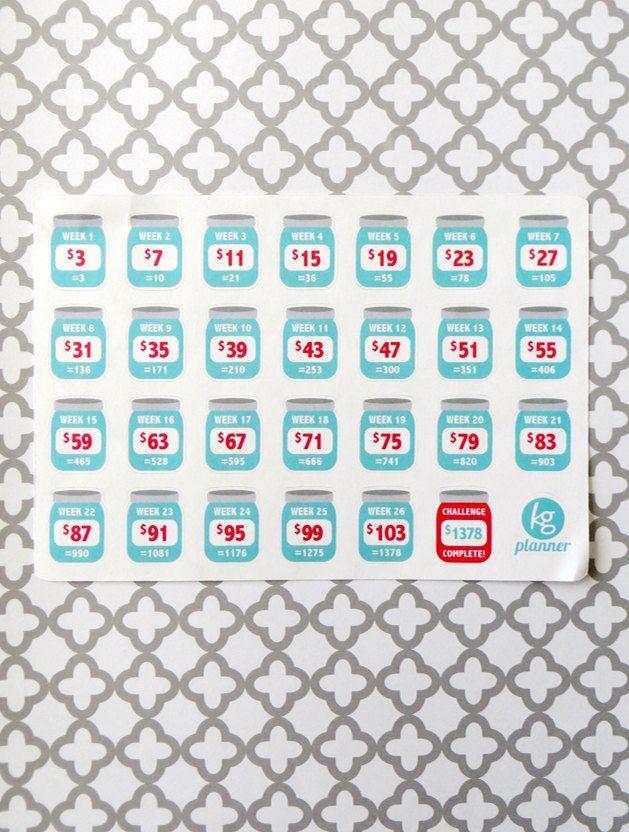 Biweekly 52 Week Savings Challenge Planner Stickers For