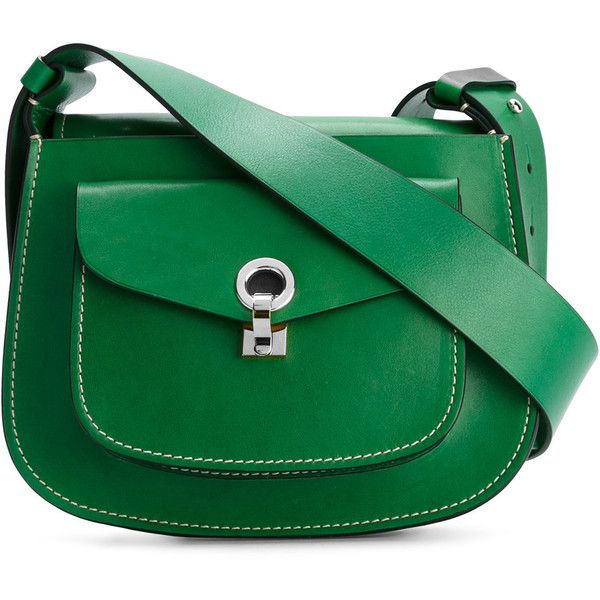 Marni saddle shoulder bag (£1,300) ❤ liked on Polyvore featuring bags, handbags, shoulder bags, green, marni, real leather handbags, leather purses, marni handbags and green leather purse