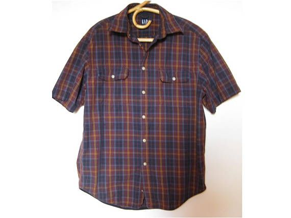 90s GAP clothing  plaid short sleeve shirt  button down