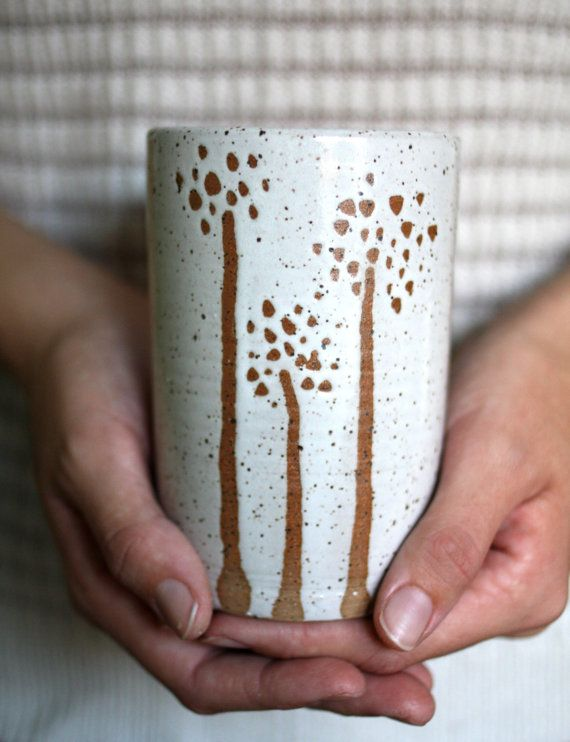 Handleless Mug Tumbler Antique White Three Trees Dandelion Design 16 Oz Handmade