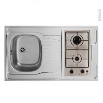 Bloc évier pour kitchenette - plaque de cuisson gaz - L100 x P60 cm - SOKLEO