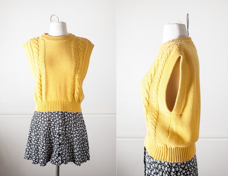 Vintage Mustard Yellow Sweater Vest / 80s Yellow Top Slouchy Top Boxy Oversized 80s Shirt Cable Knit 80s Jumper Classic Style Minimalist by BlueHorizonVintage on Etsy