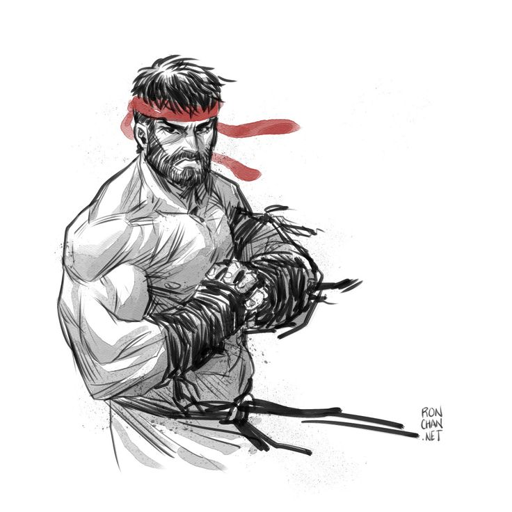 Quickie Street Fighter V Bearded Ryu sketch! | Ron Chan
