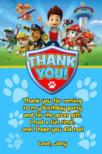 Paw Patrol Thank You Card Invitations Paw Patrol