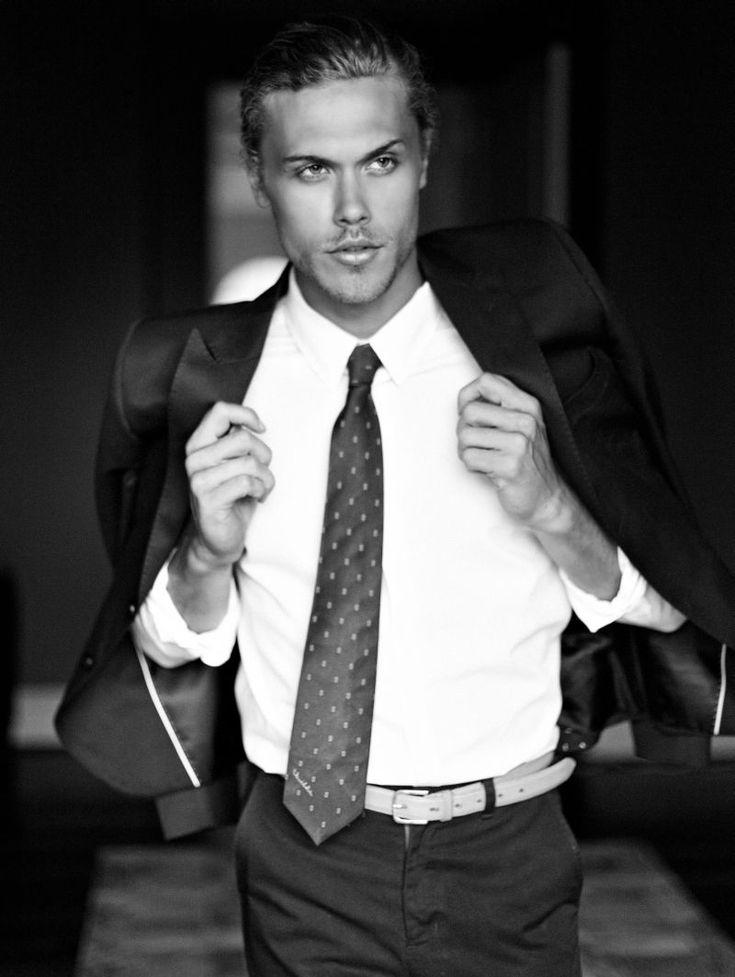 button-down shirt Topman, trousers Armani Collezioni, blazer Topman, tie Oscar de la Renta and belt stylist's own.