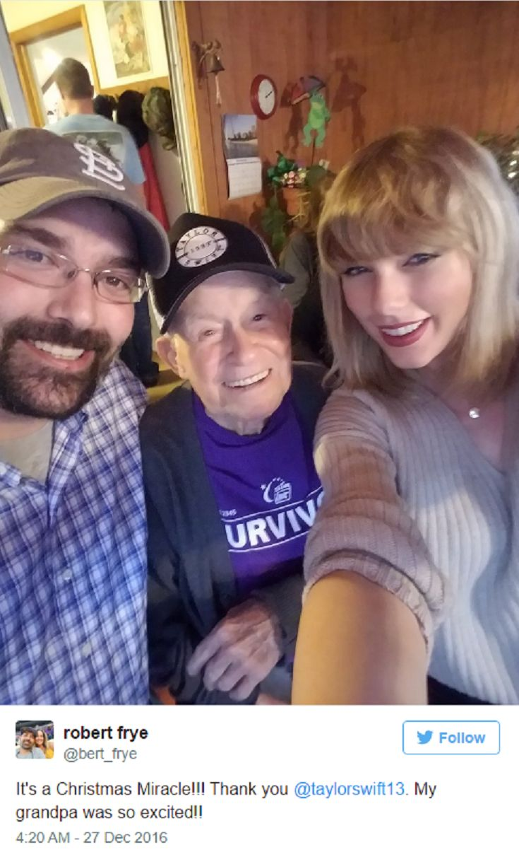96-Year-Old World War II Veteran And Swiftie Gets Surprise Christmas Concert From Taylor Swift In His Living Room