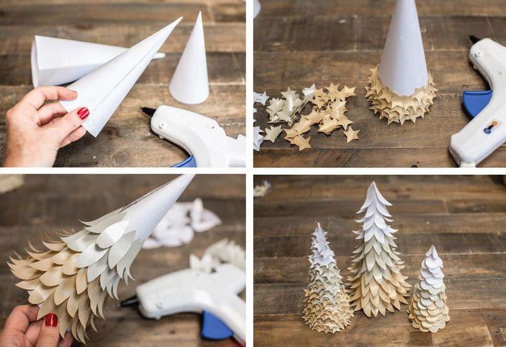Alberi di Natale di carta bicolore