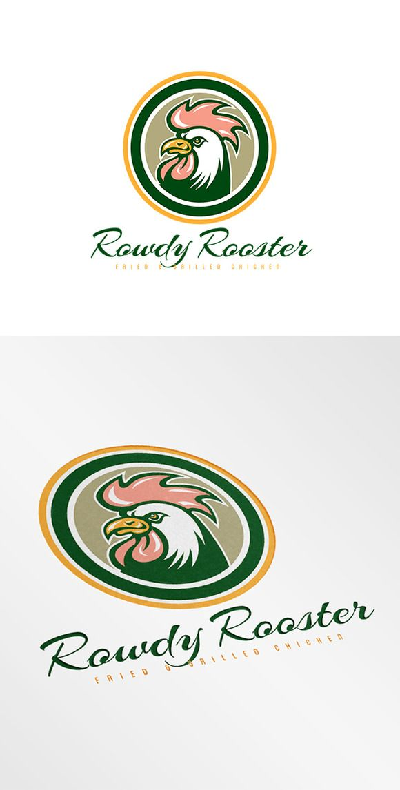 Rowdy Rooster Fried Chicken Logo by patrimonio on Creative Market