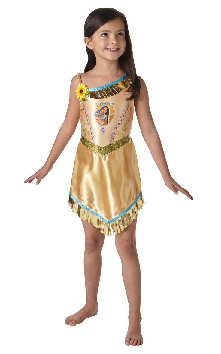 Pieni Pocahontas. Tämä Pocahontasin kaunis ja yksityiskohtaisesti koristeltu naamiaismekko tekee tytöstä historiallisesti merkittävän henkilö, joka tunnetaan myös menestyneenä Disney-hahmona.