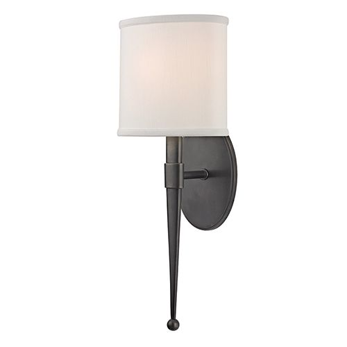 hudson valley madison old bronze onelight wall sconce with white shade