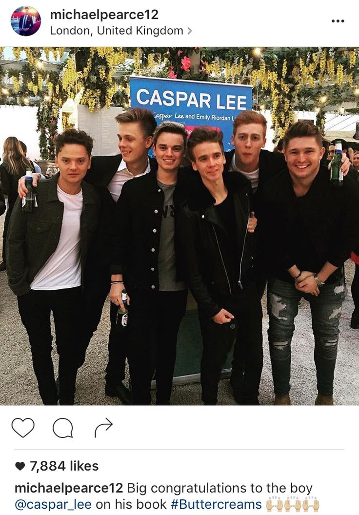 The boys minus Oli at Caspar's book launch party! Great photo except Caspar can you please stop looking at Conor lol! Photo credit: Michael Pearce Instagram