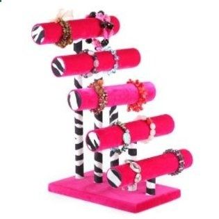 Paint rollers dowels wood base = customizable jewelry rack.