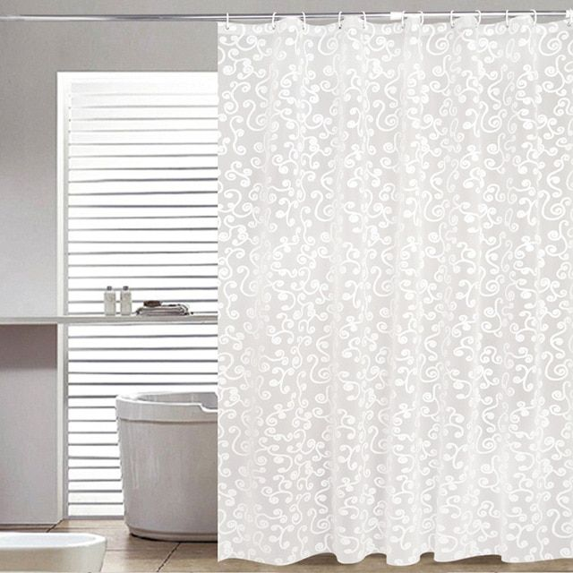 Simple Bath Curtain White Geometric Printed Protection Peva Shower