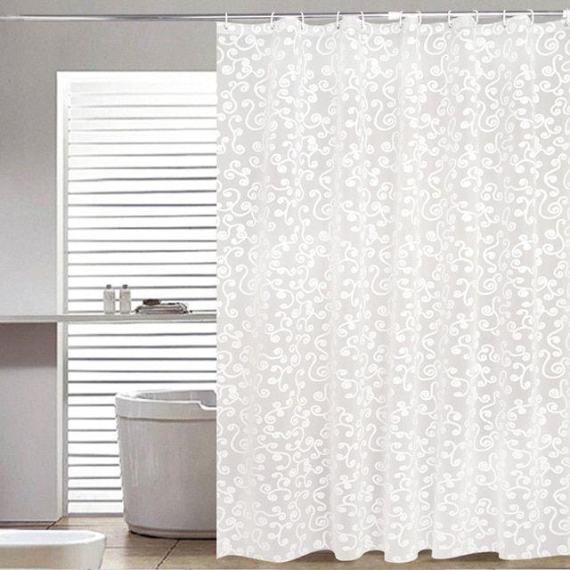 Simple Bath Curtain White Geometric Printed Protection Peva Shower