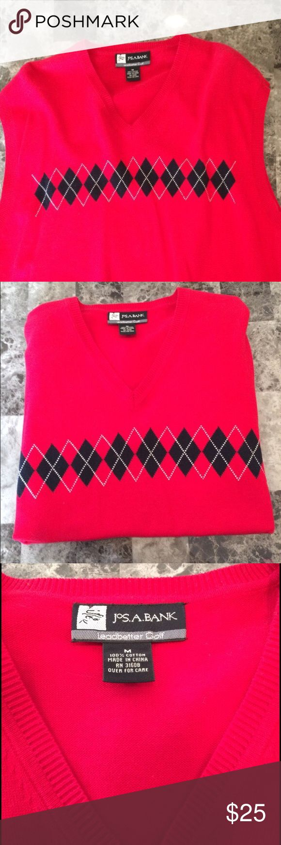 Red and black argyle sweater vest Red and black argyle sweater vest. Joseph A. Bank brand. Leadbetter Golf. Men's size M. Rarely worn and kept clean. Bought to go with those creepers. Joseph A. Bank Sweaters V-Neck