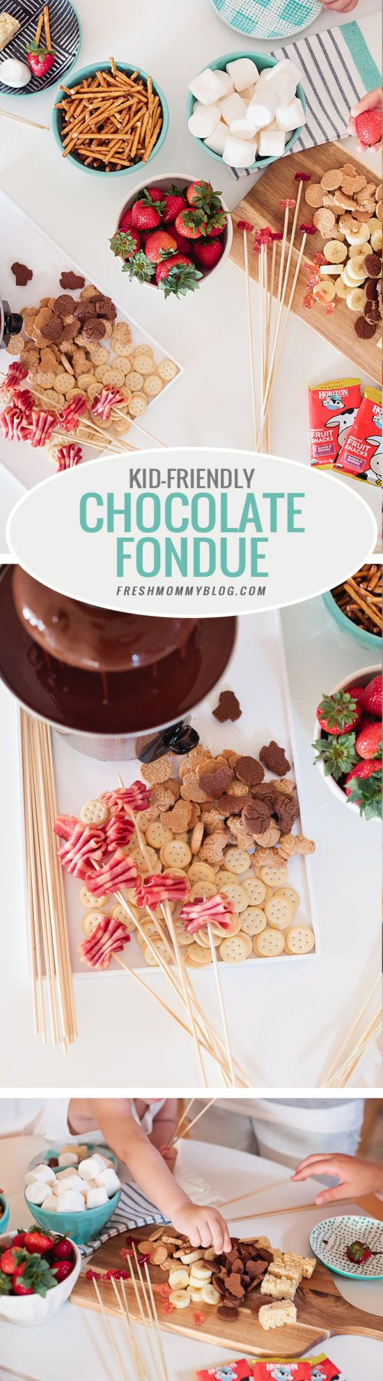 Kid Friendly Fondue Party - Just two simple ingredients gives you deliciously smooth chocolate fondue for your next party or after school snack and serve with your favorite snacks for a kid friendly fondue (fountain not required, but it is totally fun right?!) #horizonorganic #ad