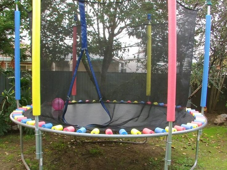 Here's a great way to keep the kids safe on the Trampoline and all you need are pool noodles cut to cover the springs.  It's so easy!