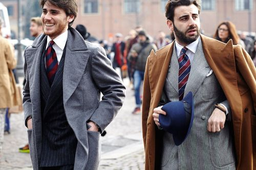 http://chicerman.com  billy-george:  Alfonso de Francesco with the look of glee and Gennaro Annunziata with a look of utter disgust.  #streetstyleformen