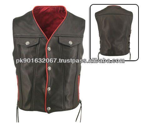 Men Motorcycle leather vest