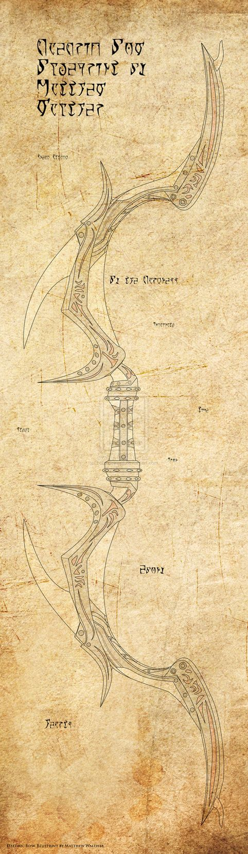 Artistic Rendering of Daedric Bow Blueprint by ~bobsideways on deviantART