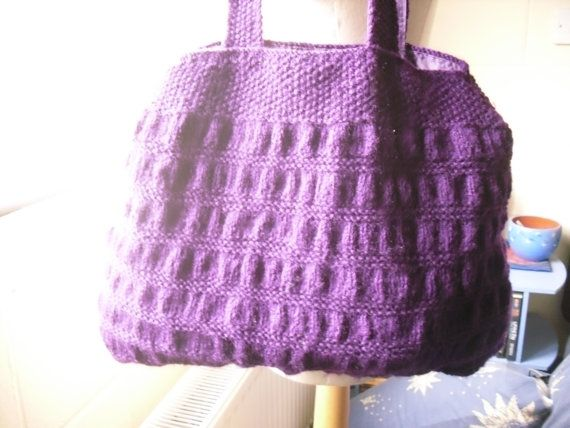 Purple Handbag. Hand Knitted Purple Tote Bag. by Kezylou on Etsy, £30.00
