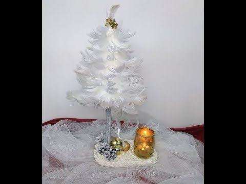 Choinka z piórek# Christmas tree with feathers.  Dekoracja na święta