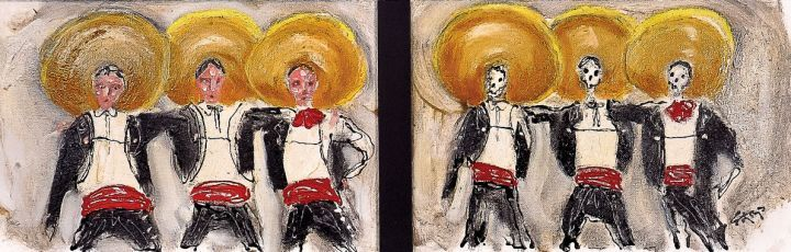 """Three Amigos: Friends in life and Friends in the Afterlife.  Mexican Mariachis from the """"Comedia Ranchera"""" films of the 1930s and 1940s were happy-go-lucky' friends from Veracruz in life (left) and also in death (right).  Nothing changes except the skeletal frames which now hold their souls in the afterlife. In death, as in life, proud friends still gather to celebrate events such as The Mexican War of Independence and The Mexican Revolution."""
