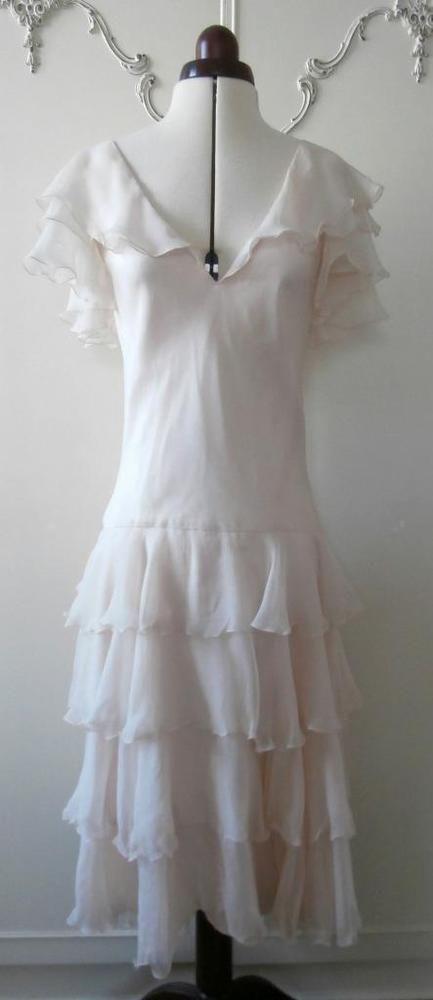 Vintage Early 1980 s, Retro 1940 s Cream Silk Floaty Formal Tea Dress UK Size 10