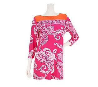Susan Graver Printed Liquid Knit Tunic with Pop Color Yoke