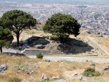site/ruin of the altar to Zeus, Pergamum, Turkey. c.165 Original altar is on display at the Pergamon Museum in Berlin, having been moved to Germany in 1871. When Attalus III (138–133 BC) died without an heir in 133 BC, he bequeathed the whole of Pergamon to Rome, in order to prevent a civil war.