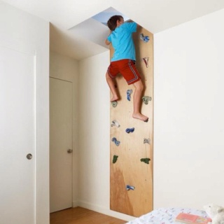 Great boys room idea give them access to the attic!! to stash toys.....room would stay clean