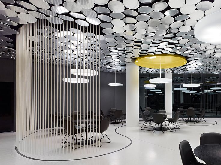 Glamour interior design modern ceiling design with mirror chip luminosity der spiegel canteen design by ifg modern ceiling design with mirror chip