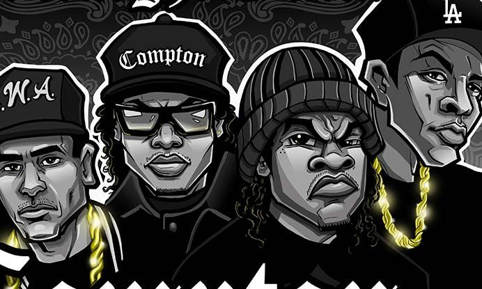Check out the original art inspired by N.W.A. and the movie Straight Outta Compton.