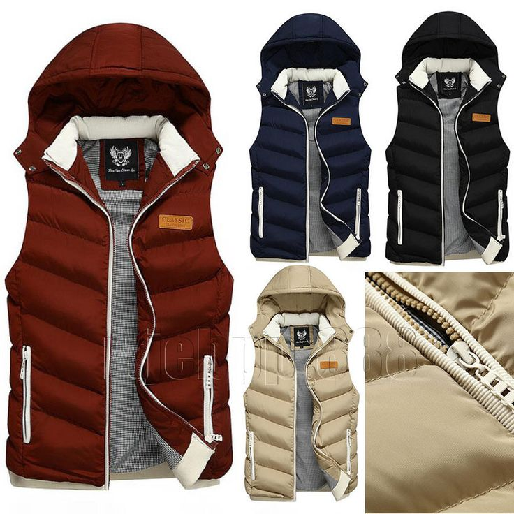 Mens Boys Quilted Cotton Padded Gilet Sleeveless Coat Body Warmer Hooded Jacket