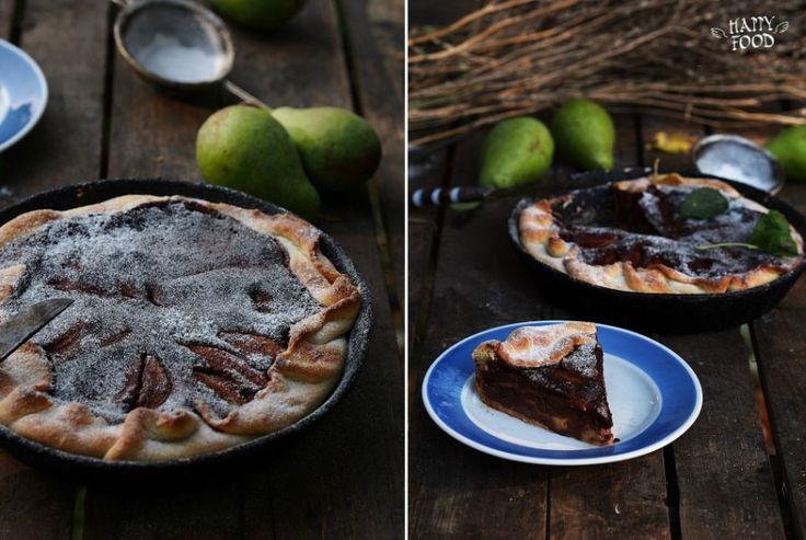 Пирог с грушами и шоколадом - HAPPYFOOD