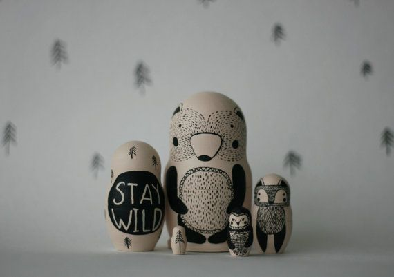 STAY WILD set of 5 black and white wooden handpainted russian nesting dolls…