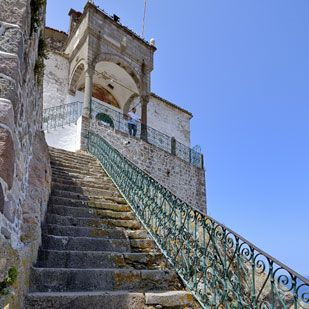 Petra, Lesvos. The Church of Panagia Glykofilousa with 114 steps…