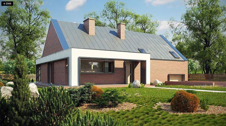 Gotowy projekt domu Z339 - Nowoczesny dom z półpiętrem, garażem oraz oranżerią