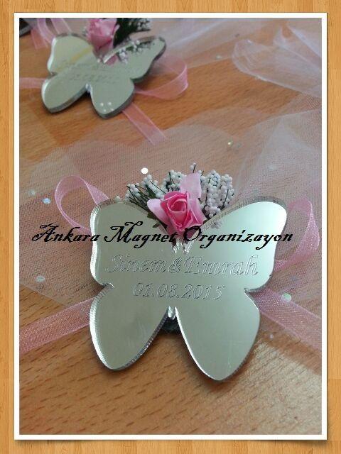kelebek pleksi ayna düğün magneti