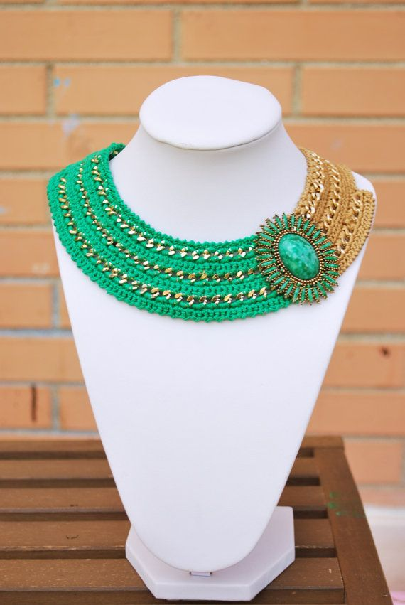 Green Crochet necklace, gold tone chain necklace with vintage element