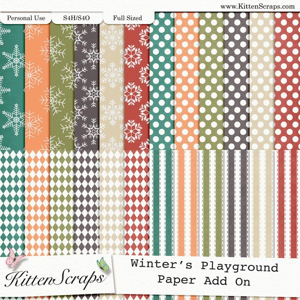Winter's Playground Paper Pack Add-On  created by KittenScraps, Digital Scrapbooking