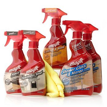 Magic Cleaning Solutions..........Stainless Steel Cleaner (Aerosol) and Shower Glass & Mirror  Cleaner (Trigger) can be found at your local Home Depot or on HomeDepot.com.