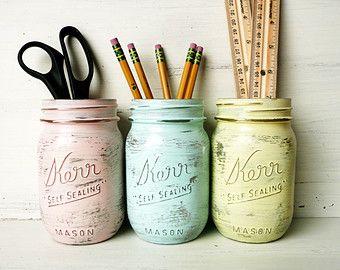 Wohnheim Dekor - Pastell Glam - Home oder Office Dekor - lackiert Mason Jar - Stifthalter - Vase