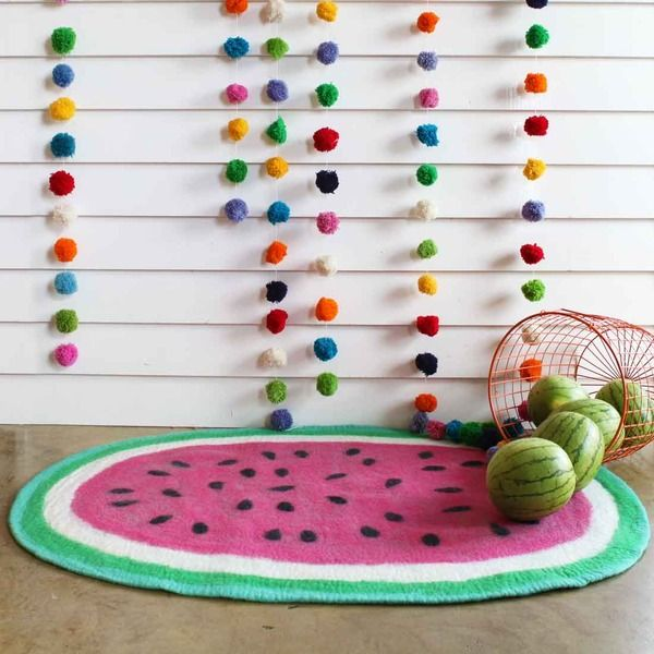 Watermelong Rug and Multi Coloured Pom Pom Garland available at Little Red Chick #kidsrooms #stylemyroom