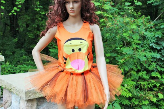 Tigger Costumes Outfit Halloween Run Disney Marathon Race Tutu Skirt Racer Back Tank Top Drifit Set Winnie Pooh Cartoon Character Burlesque