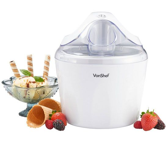 Summer is here, and with it comes our obsession for frozen treats. Get ready for it with this  1-1/4-Quart Ice Cream Maker Machine and make homemade ice creams, frozen yogurts and frappes.