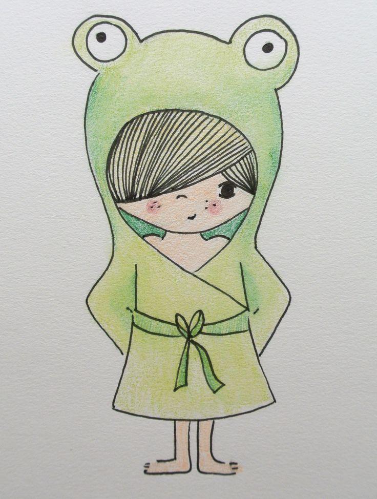 illustration kidsroom | illustratie kinderkamer | frog | kikker www.kinderkamervintage.nl